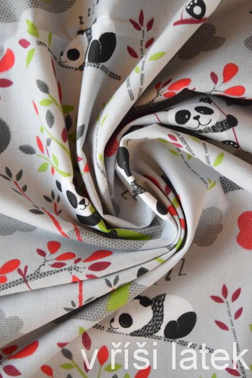 Bavlněné plátno - pandy - šedé