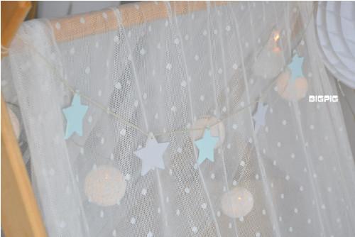 Girlanda - hvězdičky mentolková+šedá