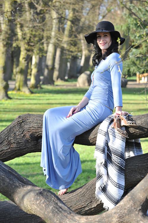 Dlouhé šaty s řasením  - Alex grey, vel 36/38