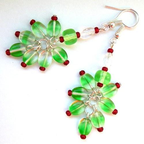 Náušnice Zelený dráček s červenými drápky