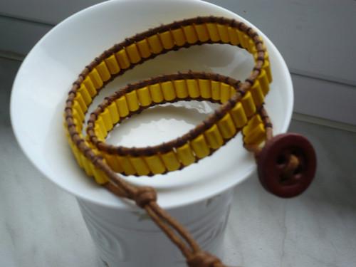 Náramek WRAP žlutý - 2 otočky