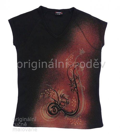 Malované tričko dámské - pekelný květ2 - černé