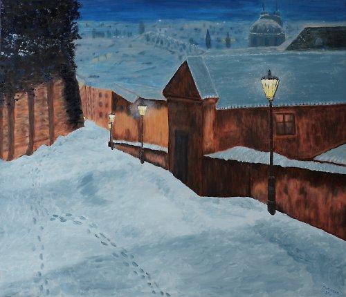 """Obraz \""""Noční Praha\""""  větší 70 x 60cm"""