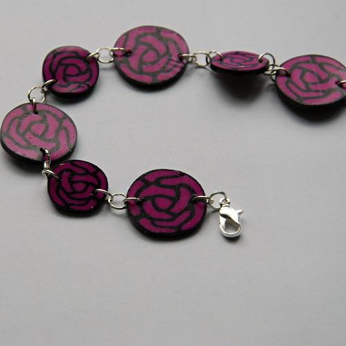 Růžovo-černý náramek z fima