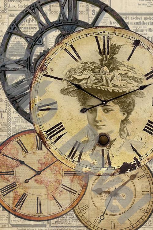 Vintage motiv - hodiny s portrétem dámy