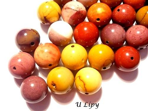 Jaspis mookait - vrtané korálky 12 mm, 2 ks