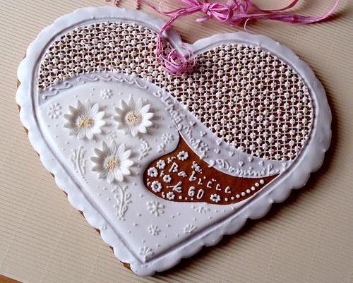srdce perníkové narozeninové - sedmikrásky