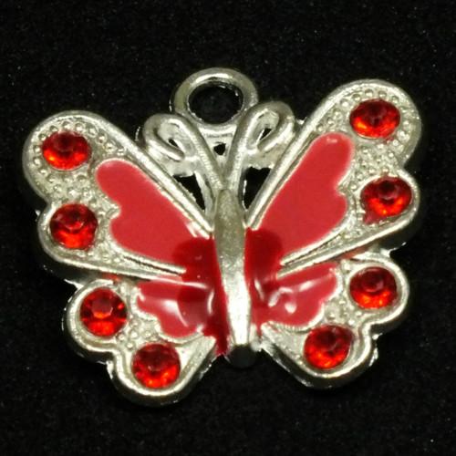 Přívěsek - motýl stříbrný a červený, 1 ks,