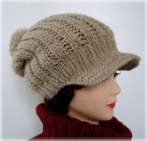 pletená čepice se šiltem-zlatobéžová