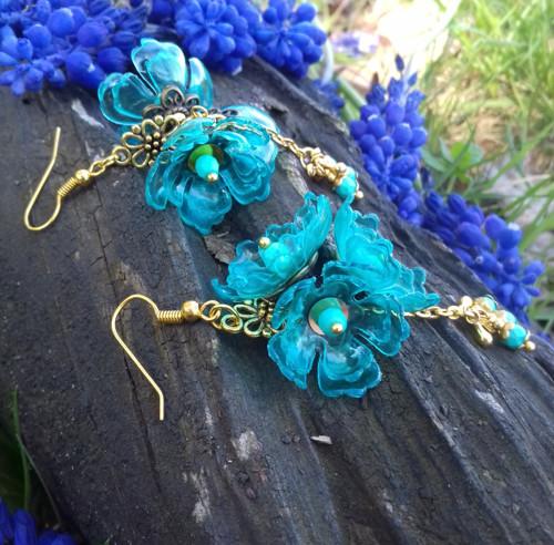 Gold & Turquoise .. náušnice z PET lahve
