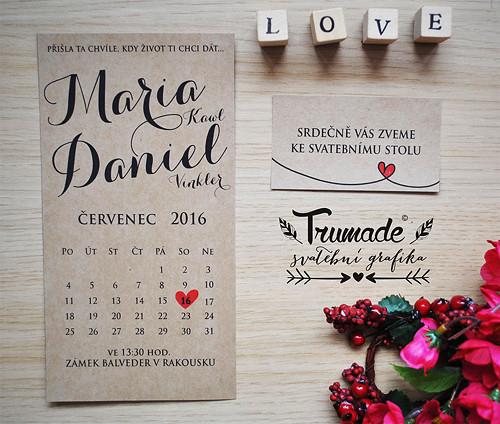 Přírodní svatební oznámení - kalendář