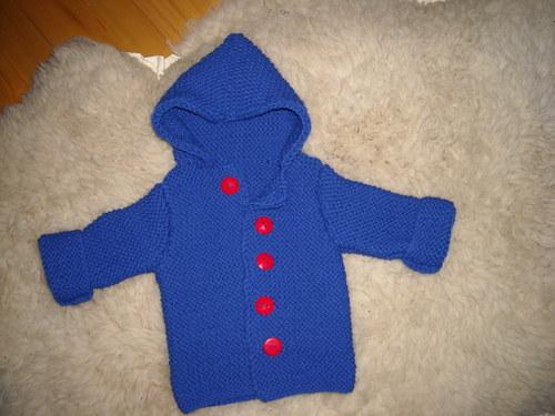 Dětský modrý svetřík-kabátek s kapuckou