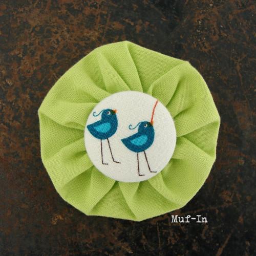 Brož zelená s ptáčky