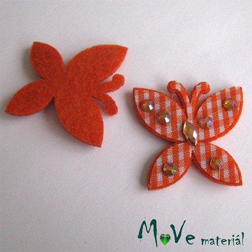 Nášivka motýl s kamínky 30x30mm 1 ks oranžová