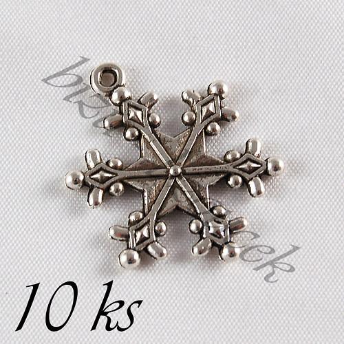 Ozdobná vločka, stříbrná barva - 10ks