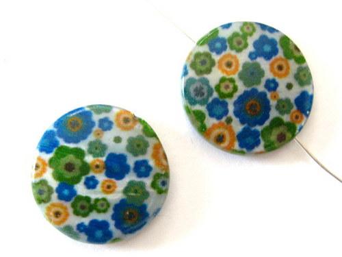 0705007/Perleťová placička modro/zelená