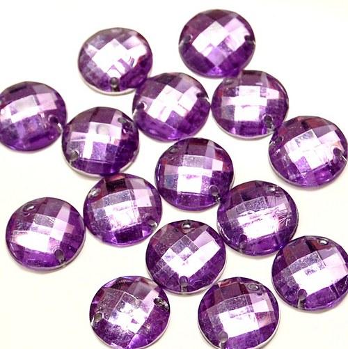 Našívací kamínek Kulatý fialová 10ks NK-97
