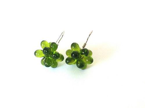 Zelené kapičkové naušnice