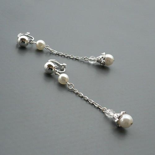 Řetízkové zvonečky HK - bíločiré klipsy