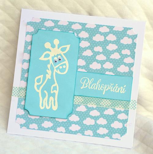 Blahopřání s žirafou, dětské, P04