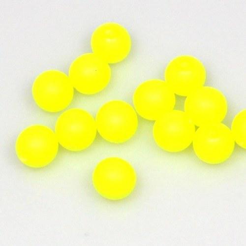 Neonové korálky 50 ks / 8 mm / žluté