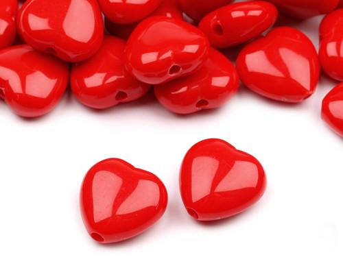 Plastové korálky 13x13mm srdce / červené (10 ks)