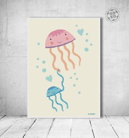 medúza Mia s miminkem // autorská ilustrace