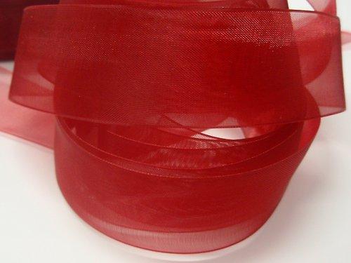 19528-B10 Stuha organza 25mm červená, á 1m