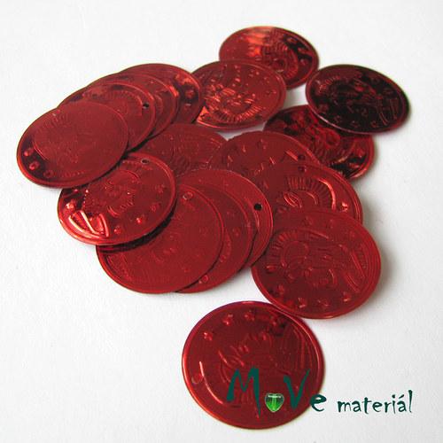"""Plastový penízek \""""Centurion\"""" 18x22mm/20ks, červený"""