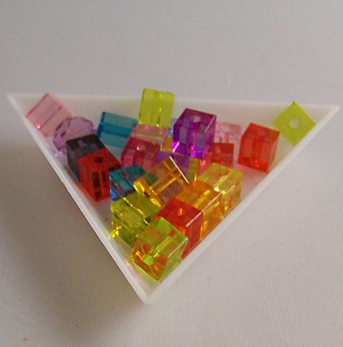 akrylové kostky transp./ MIX/ 7x7mm/ 100ks