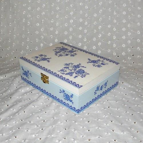 Krabička na čaj - modro-bílé kytičky