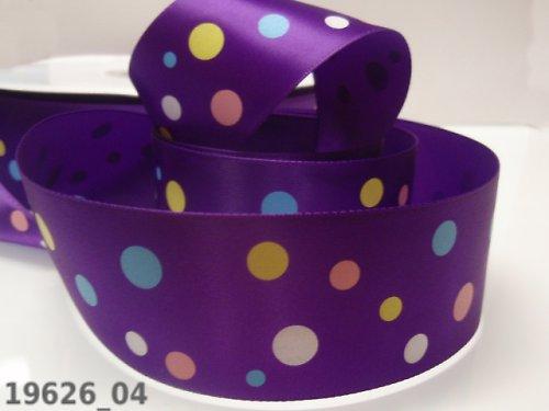 19626-B04 Stuha 38mm fialová/barevné puntíky