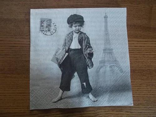 Ubrousek na decoupage - Paříž vintage