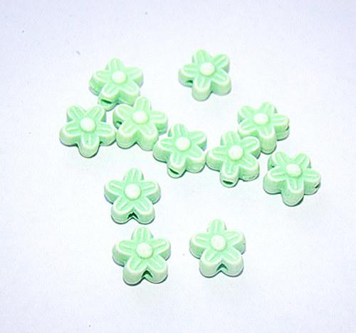 Korálky plast květinka zelené