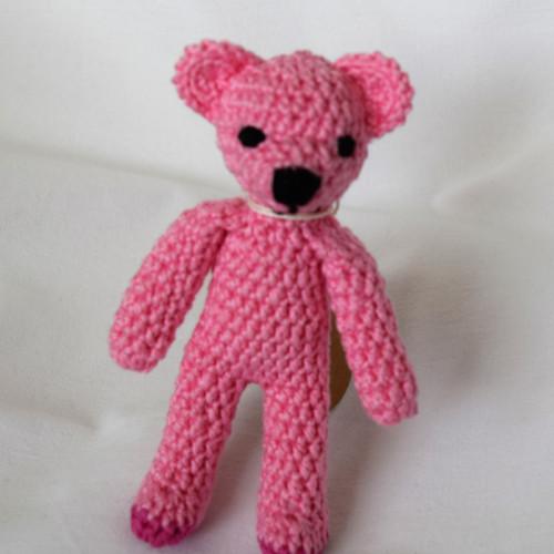 Háčkovaný medvídek růžový mazlíček