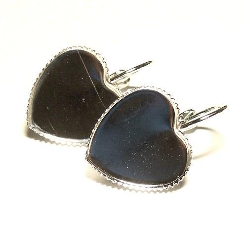 Visací naušnice srdce stříbrné - 1 pár