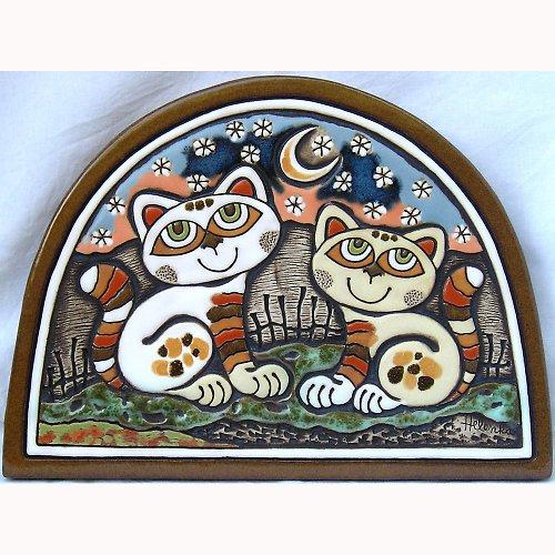 Keramický obrázek - Kočky v lunetě K-128-N