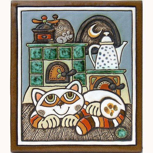 Keramický obrázek - Kočka a pec K-134-N