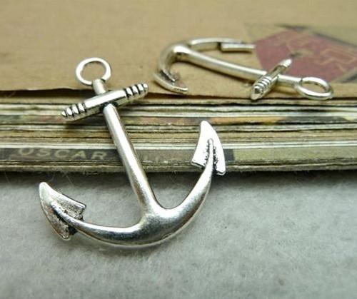 Starostříbrný přívěsek - velká kotva, 2 kusy