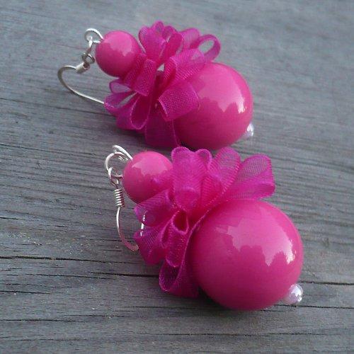 Růžové pompadůrkové náušnice
