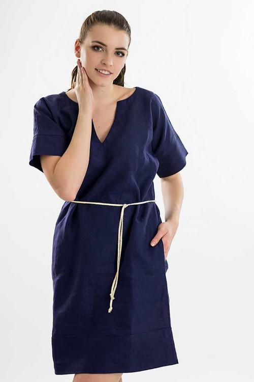 Šaty LENKA - s vazačkou, lněné