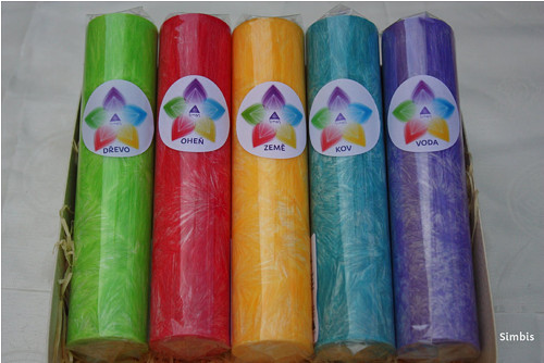 PENTAGRAM sada 5ks svíček, válec 16cm
