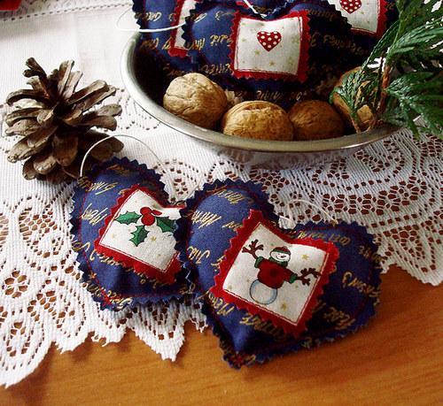 Modré vánoce - srdíčka modrozlatá
