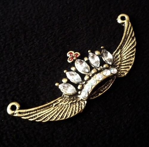 Přívěšek koruny s křídly a kamínky