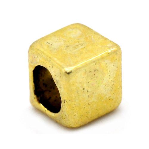 KKO3969, Kovové KORÁLKY Kocka 4mm ZLATO /5ks