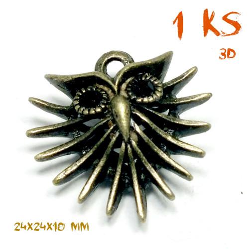 přívěsek SOVA V VOUSATÁ 3D bronz ANTIQUE 24mm, 1ks