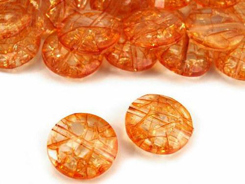 oranžová placka kraklovaná broušená  Ø20mm, 6ks