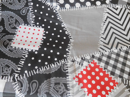 Záplaty-černobílá látka-bavlna-metráž