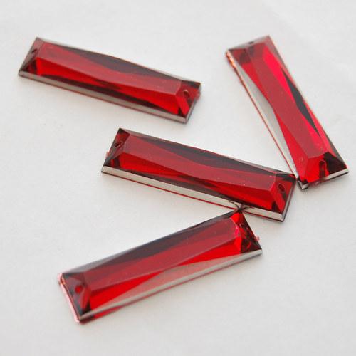 Našívací kamínek Obdelník červená 2ks NK-228