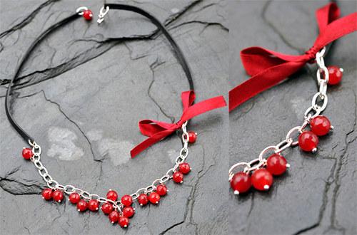 Náhrdelník s červenými broušenými rubíny N0107R